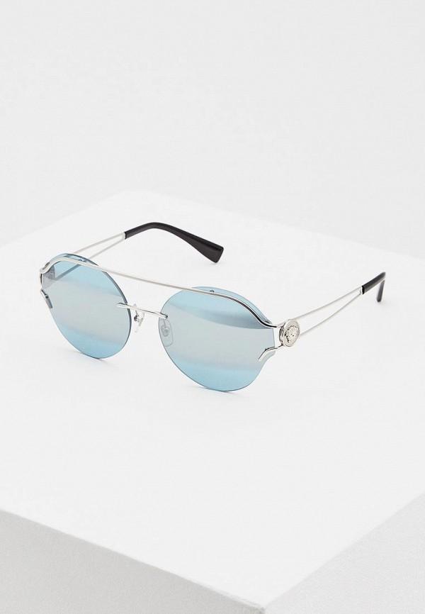 женские солнцезащитные очки versace, серебряные