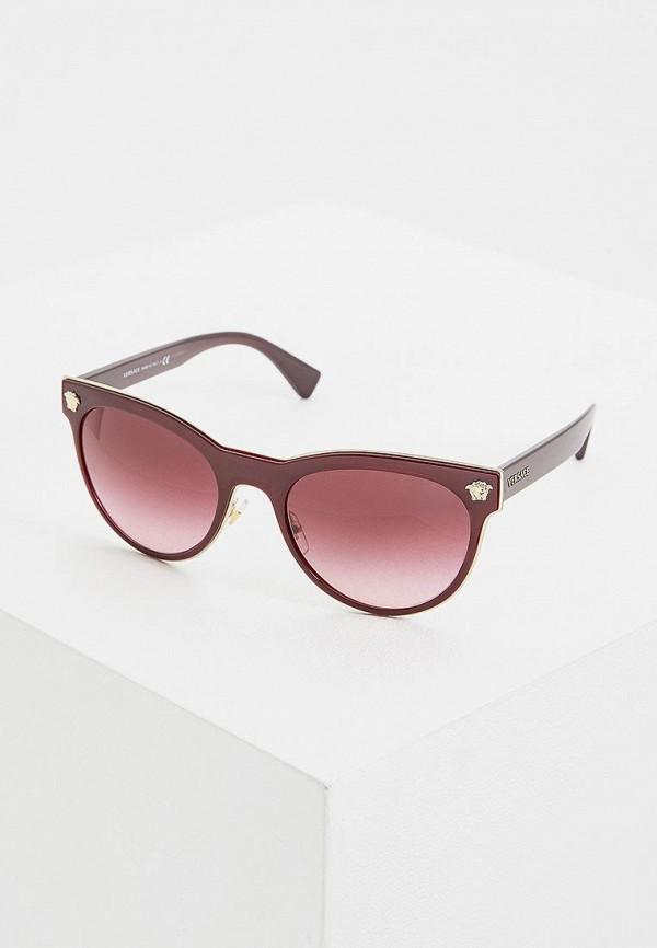 женские солнцезащитные очки versace, бордовые