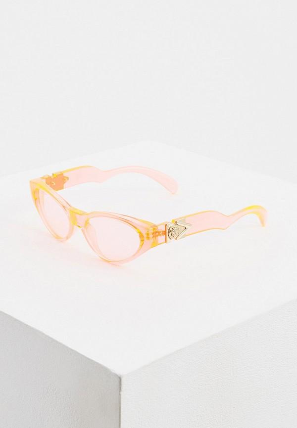 женские солнцезащитные очки кошачьи глаза versace, розовые