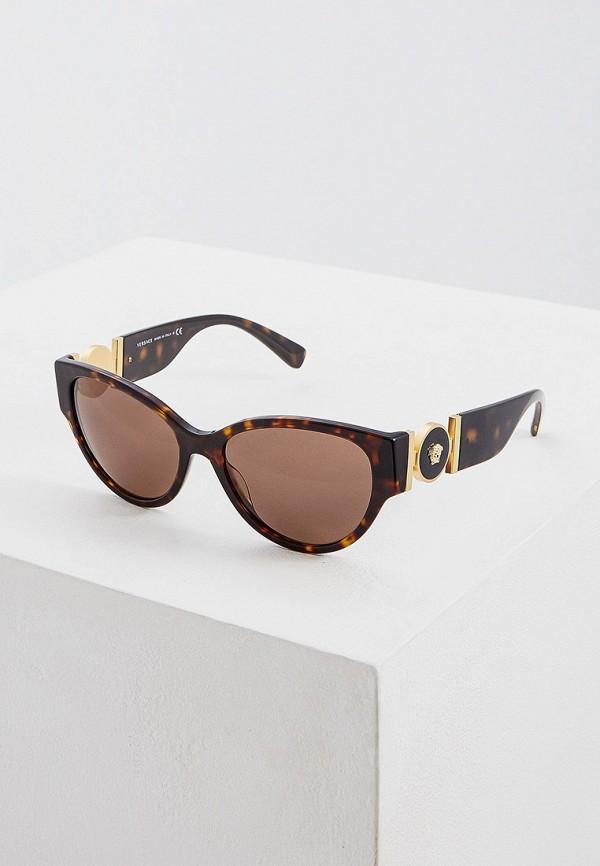 женские солнцезащитные очки кошачьи глаза versace, коричневые