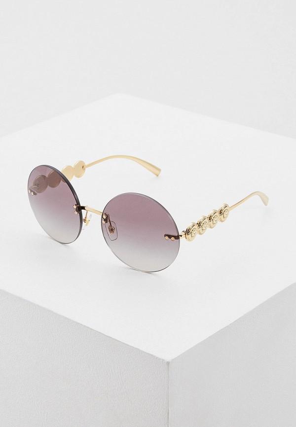 женские круглые солнцезащитные очки versace, золотые