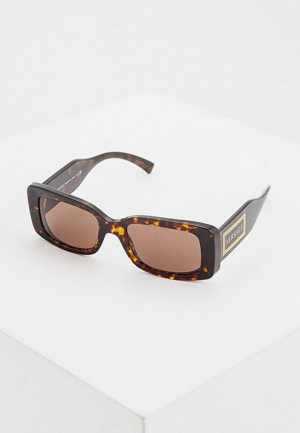 женские квадратные солнцезащитные очки versace, коричневые