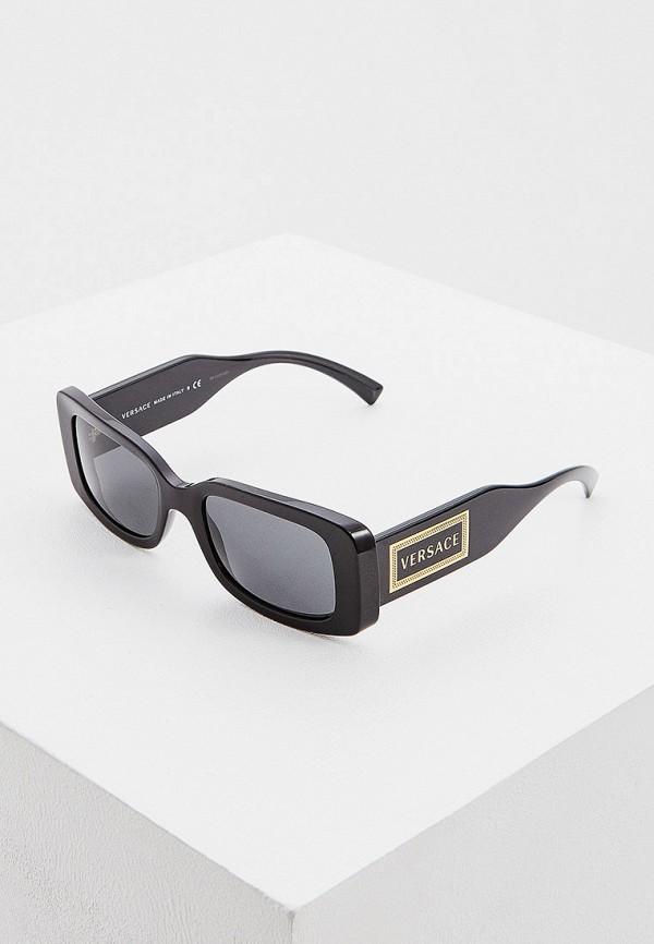 женские квадратные солнцезащитные очки versace, черные
