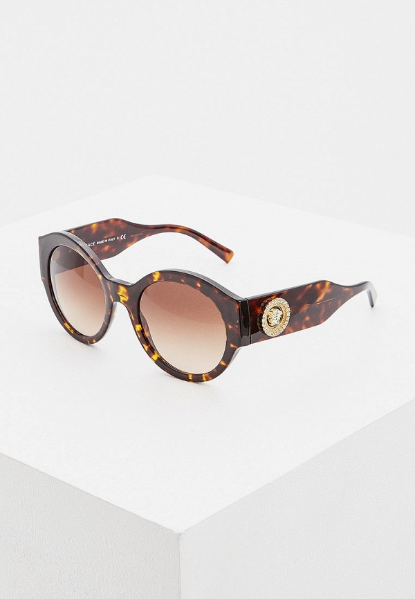 женские круглые солнцезащитные очки versace, коричневые
