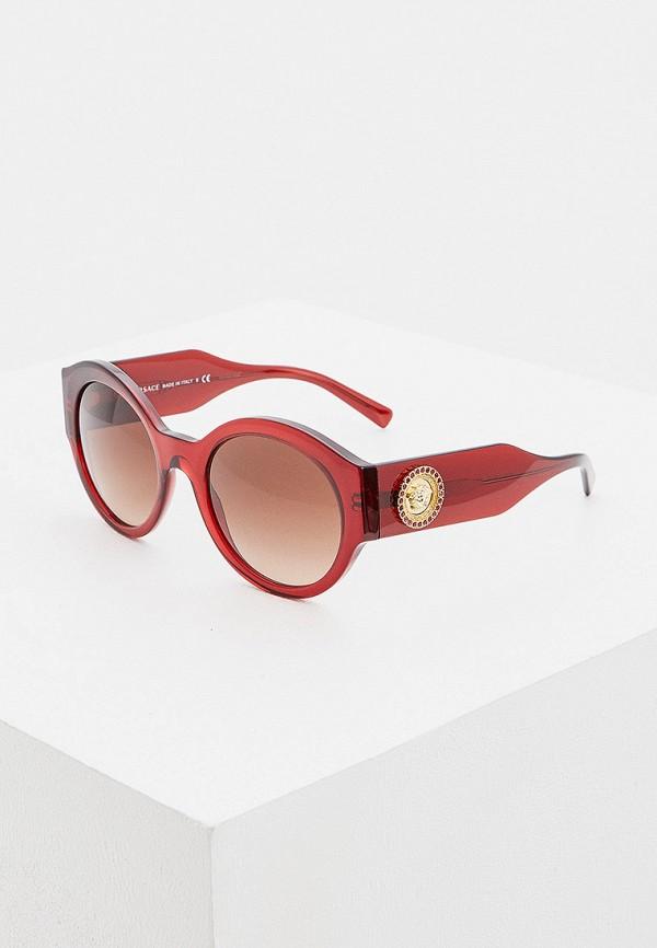 женские круглые солнцезащитные очки versace, бордовые