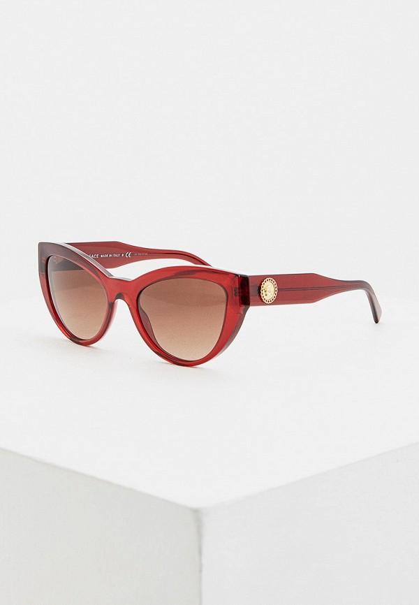 женские солнцезащитные очки кошачьи глаза versace, бордовые
