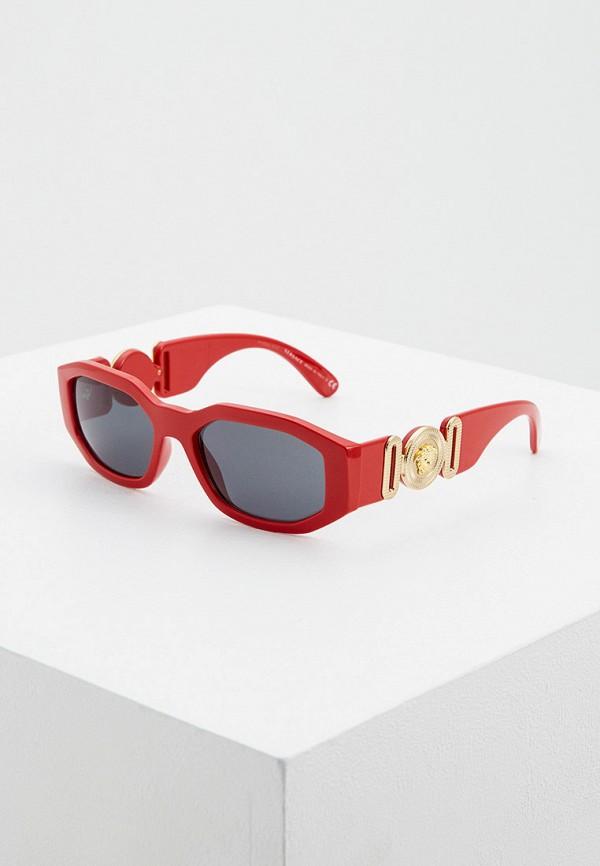женские квадратные солнцезащитные очки versace, красные