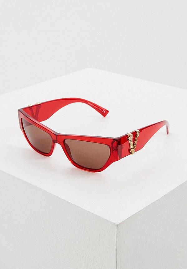 женские квадратные солнцезащитные очки versace, оранжевые