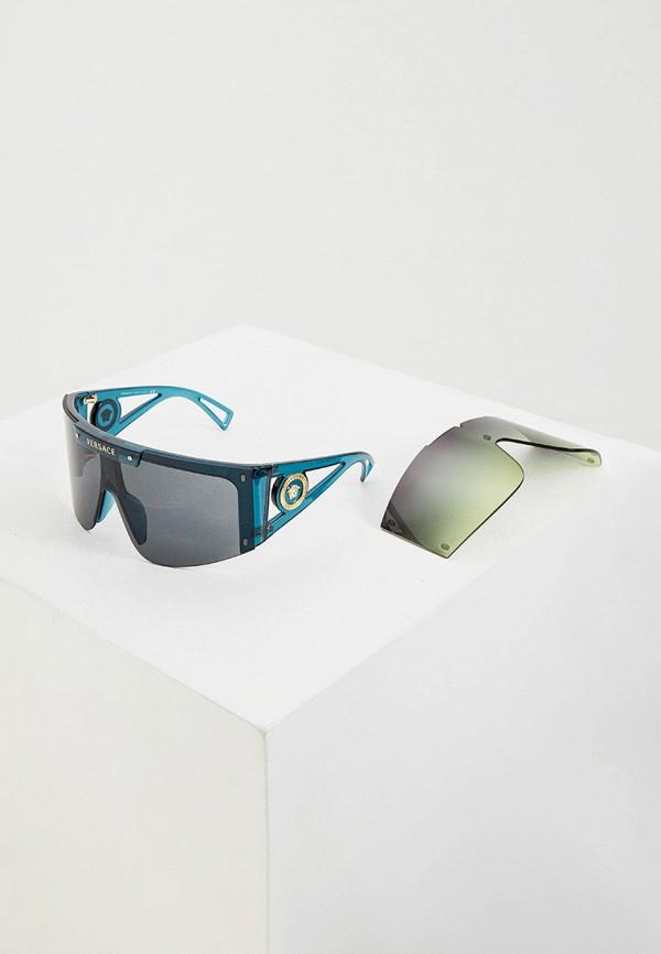 женские солнцезащитные очки versace, бирюзовые