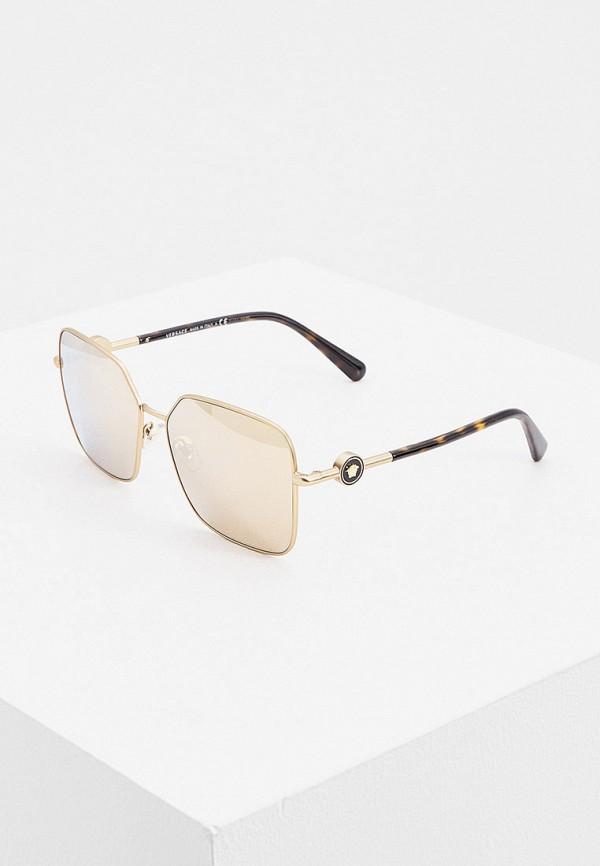 женские квадратные солнцезащитные очки versace, золотые