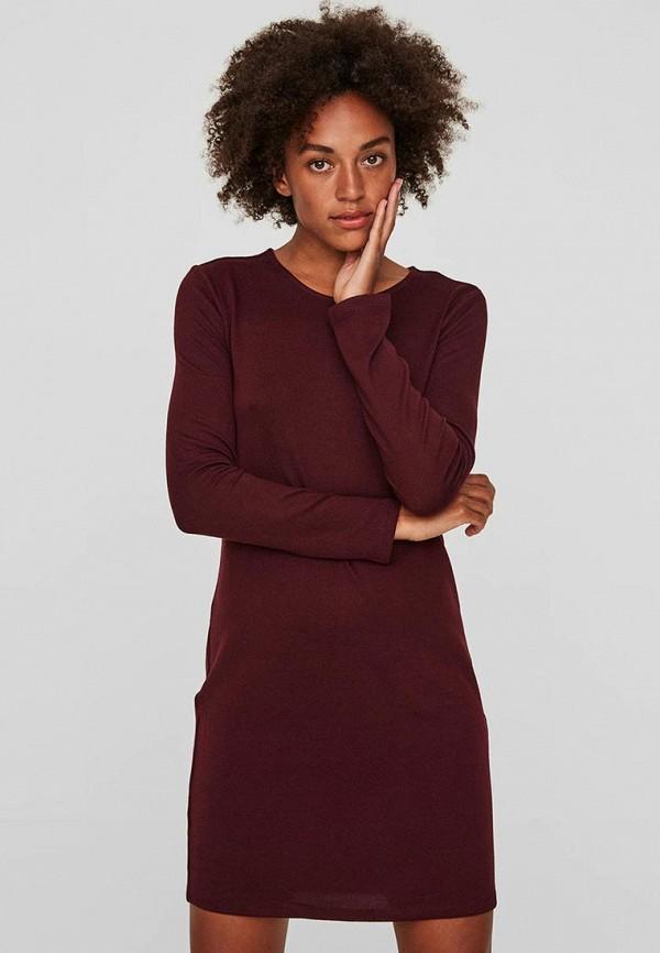 Купить Платье Vero Moda, VE389EWBXUN9, бордовый, Осень-зима 2018/2019