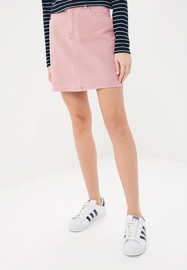 женская джинсовые юбка vero moda, розовая