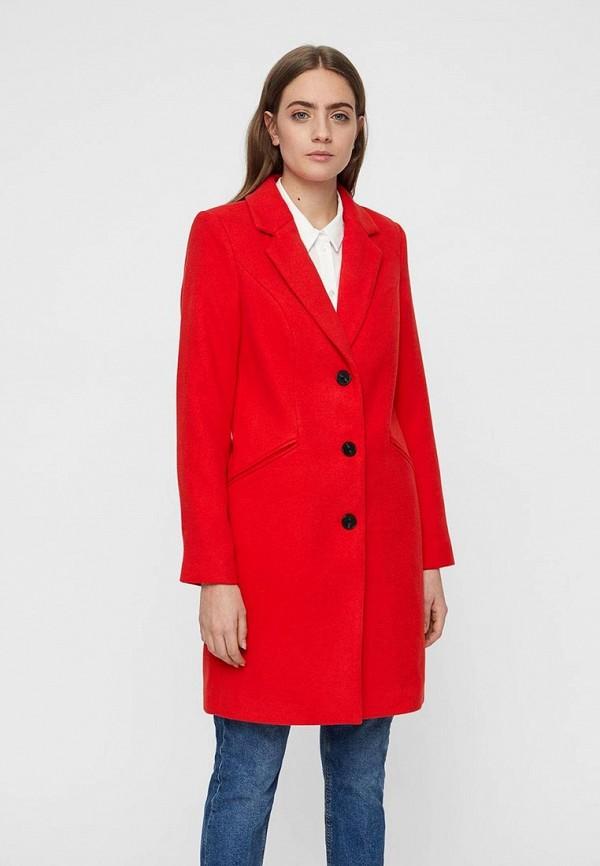 женское пальто vero moda, красное