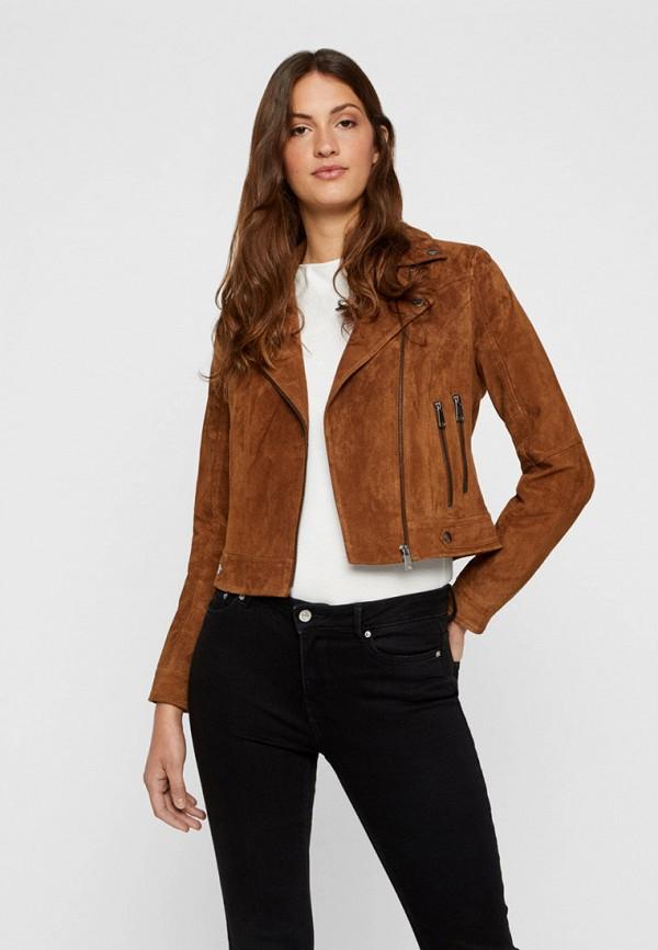 женская куртка vero moda, коричневая
