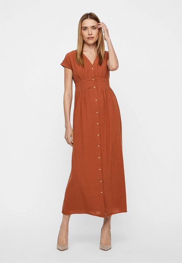 женское повседневные платье vero moda, коричневое