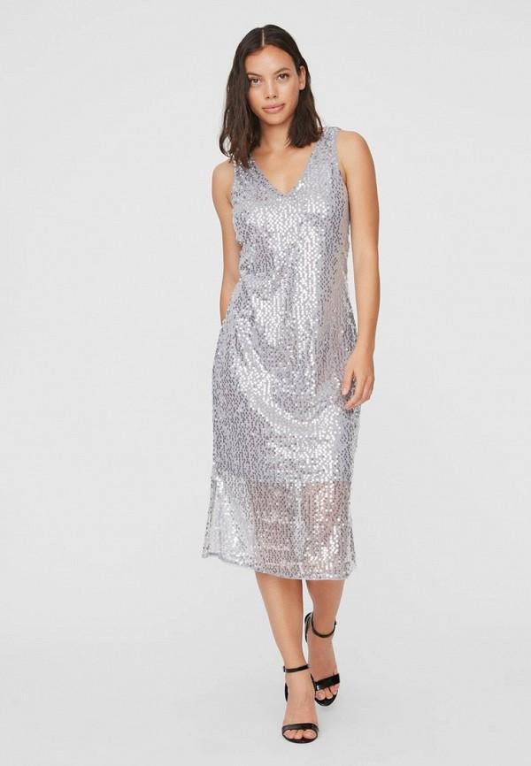 женское вечерние платье vero moda, серебряное