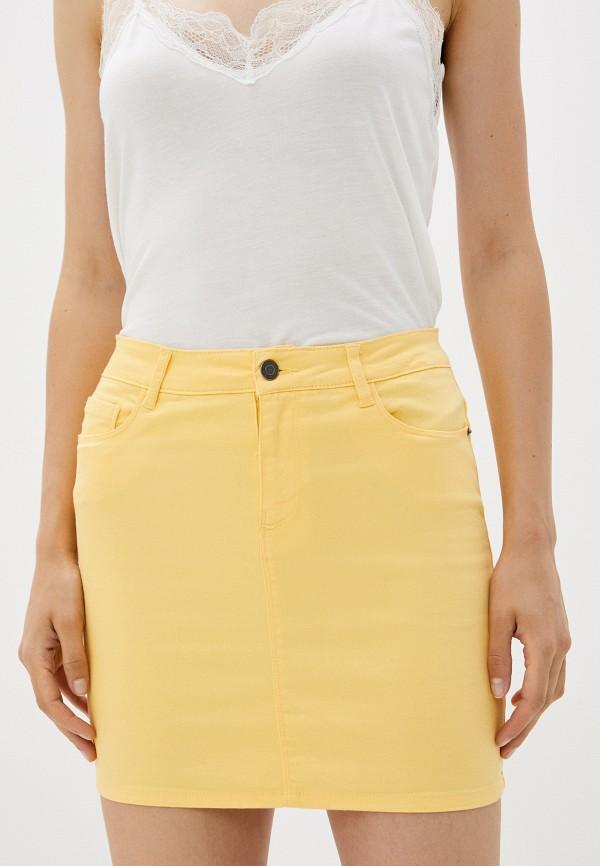 женская прямые юбка vero moda, желтая