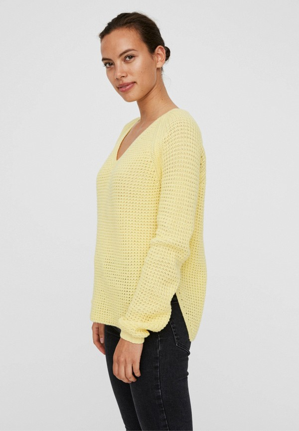 женский пуловер vero moda, желтый