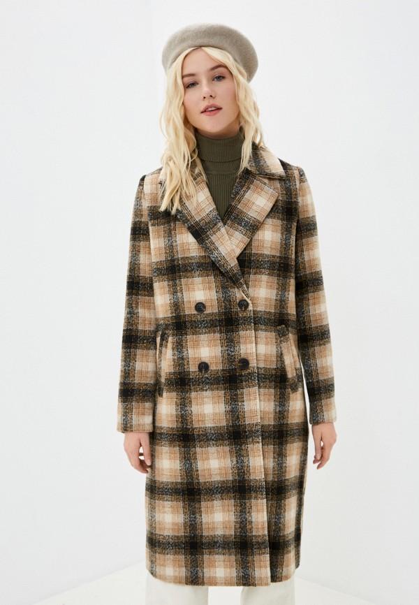 женское пальто vero moda, коричневое