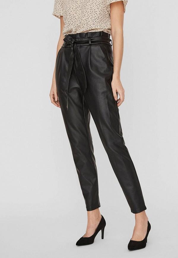 женские кожаные брюки vero moda, черные