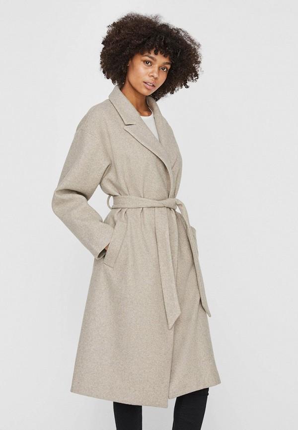 женское пальто vero moda, бежевое