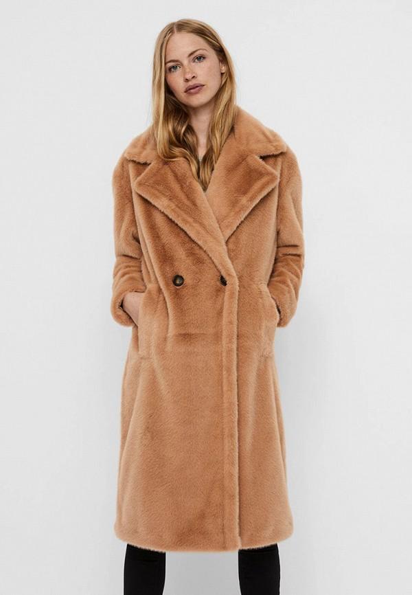 женская шуба vero moda, коричневая
