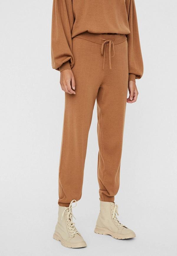 женские брюки джоггеры vero moda, коричневые