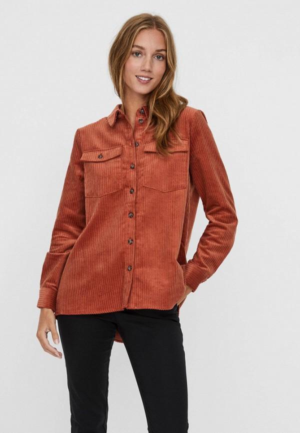 женская рубашка с длинным рукавом vero moda, коричневая