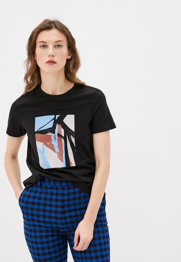женская футболка vero moda, черная