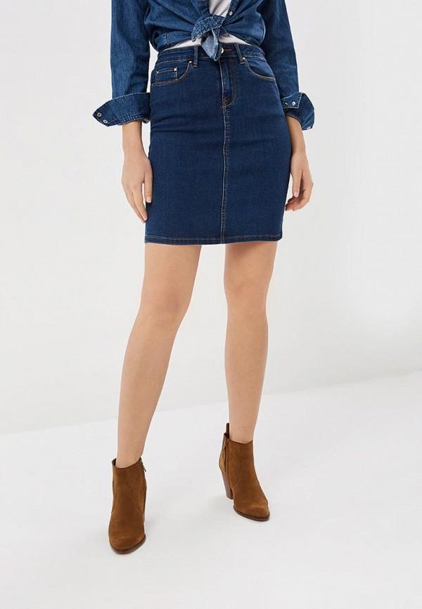 женская джинсовые юбка vila, синяя