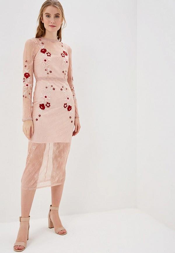 женское вечерние платье vila, розовое