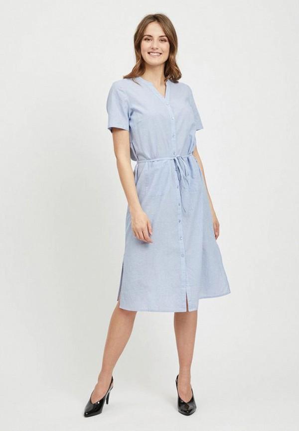 женское повседневные платье vila, голубое