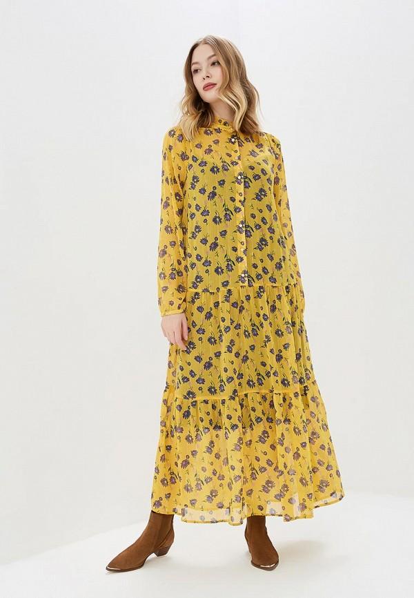 женское повседневные платье vila, желтое