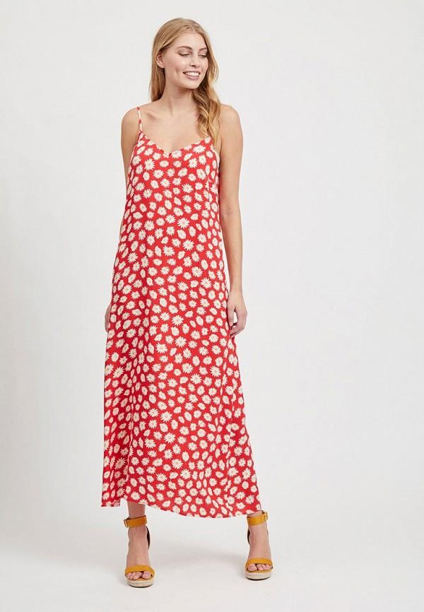 женское повседневные платье vila, красное