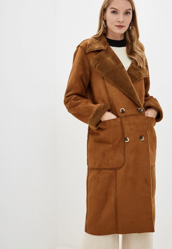 женская дубленка vila, коричневая