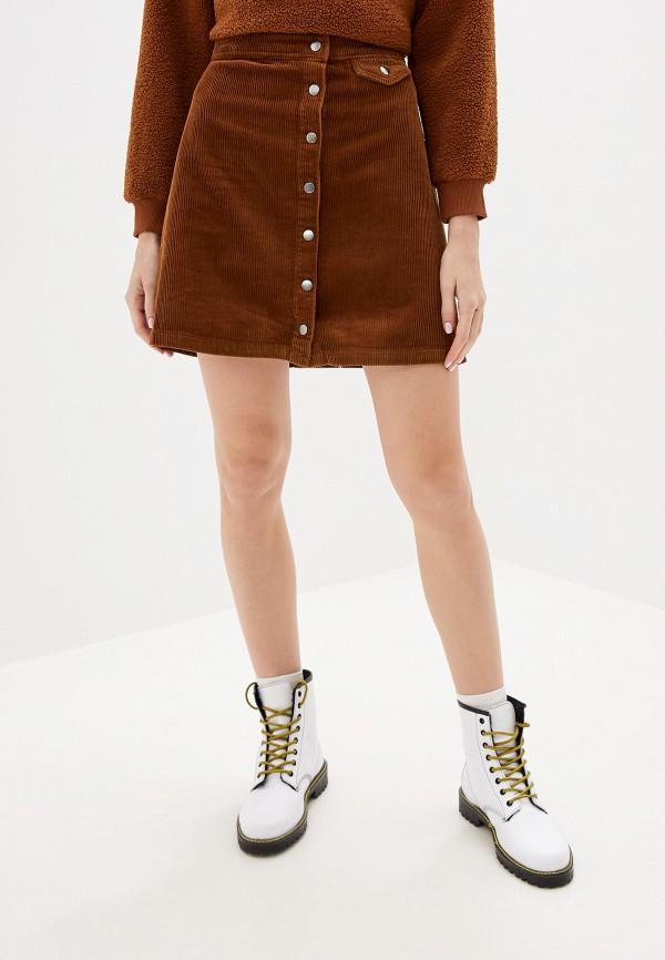 женская юбка vila, коричневая