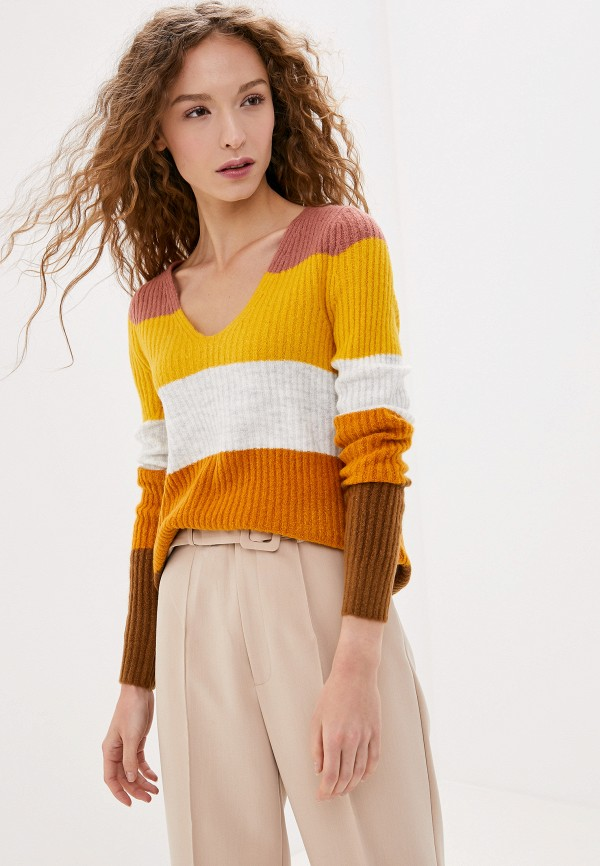 женский пуловер vila, коричневый