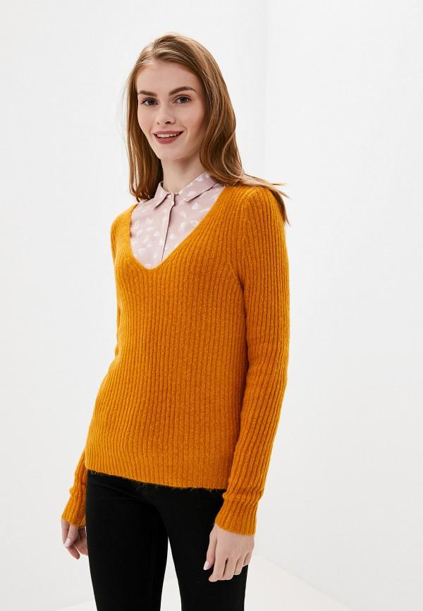 женский пуловер vila, оранжевый