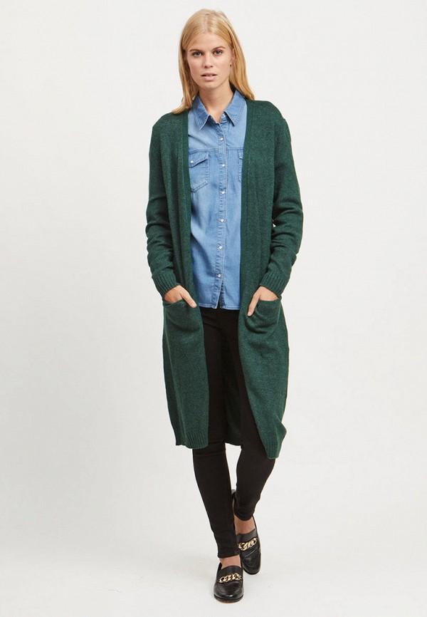 женский кардиган vila, зеленый
