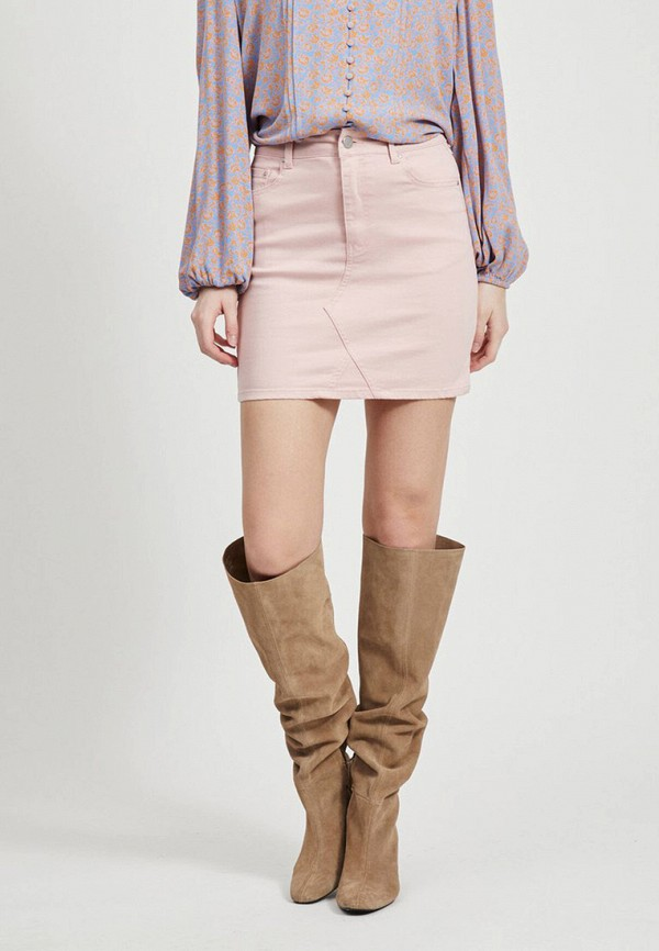 женская зауженные юбка vila, розовая