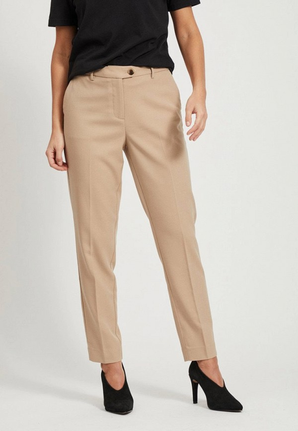 женские повседневные брюки vila, бежевые