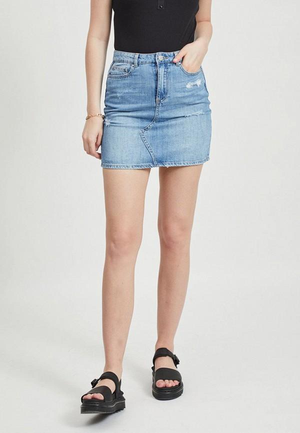 женская джинсовые юбка vila, голубая