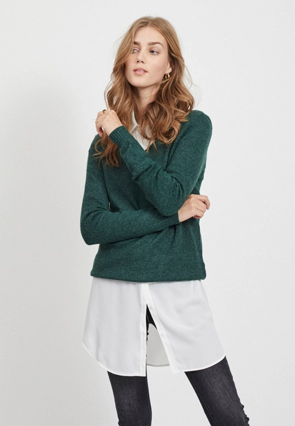 женский пуловер vila, зеленый