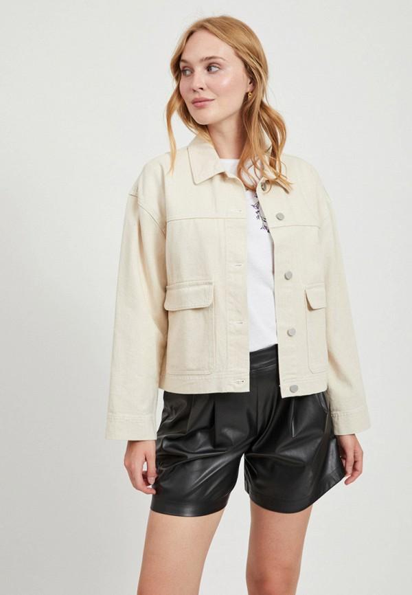 женская джинсовые куртка vila, бежевая