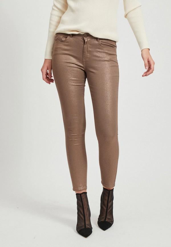 женские повседневные брюки vila, коричневые