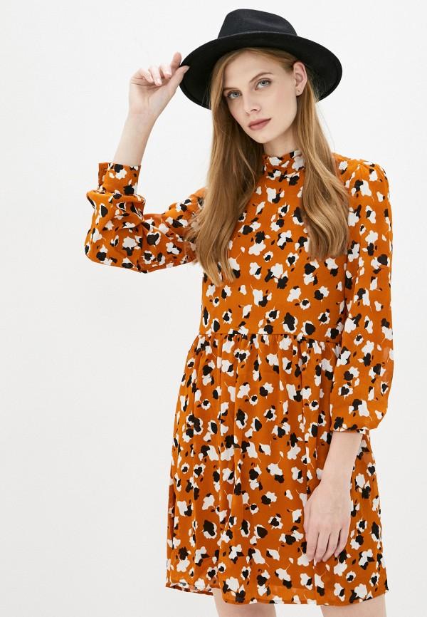 женское повседневные платье vila, оранжевое
