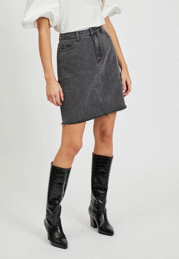 женская джинсовые юбка vila, серая
