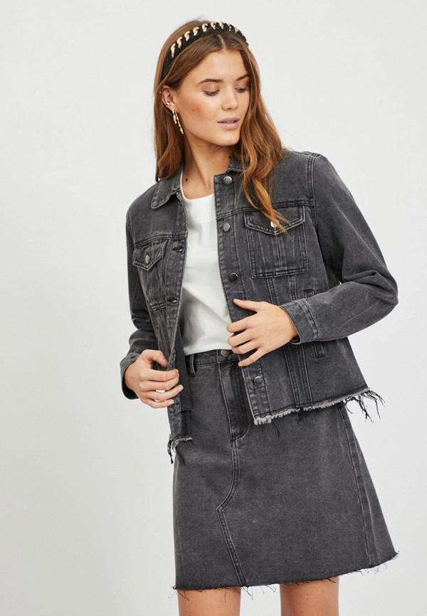 женская джинсовые куртка vila, серая