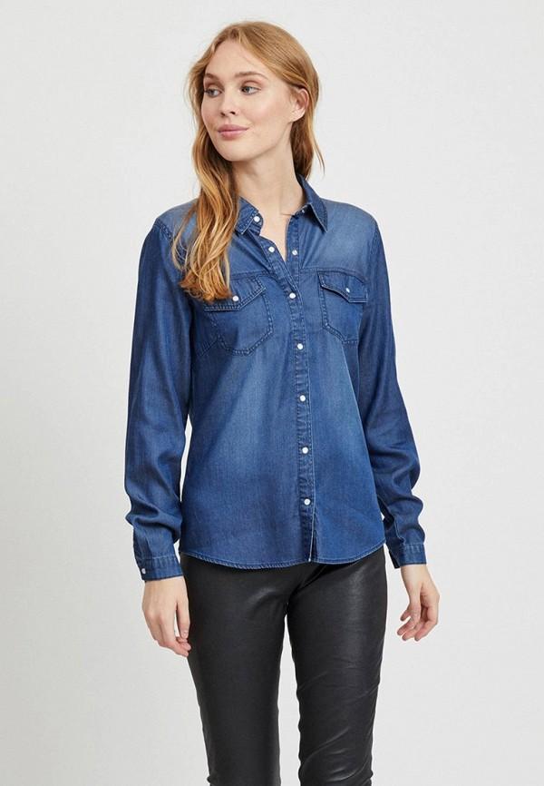 женская джинсовые рубашка vila, синяя