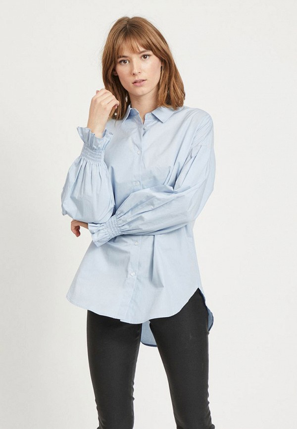 женская рубашка с длинным рукавом vila, голубая